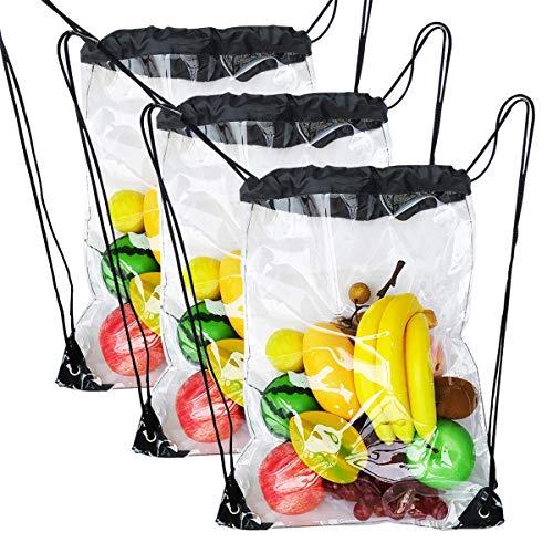 3 Pack Clear Drawstring Bags, Transparent Waterproof Drawstring Backpack for Women Men Traveling Sport String Bag (Black, 3 -