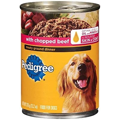 Pedigree Canned Dog Food, Meaty Ground Dinner with Chopped Beef, 13.2 oz, 6 Count