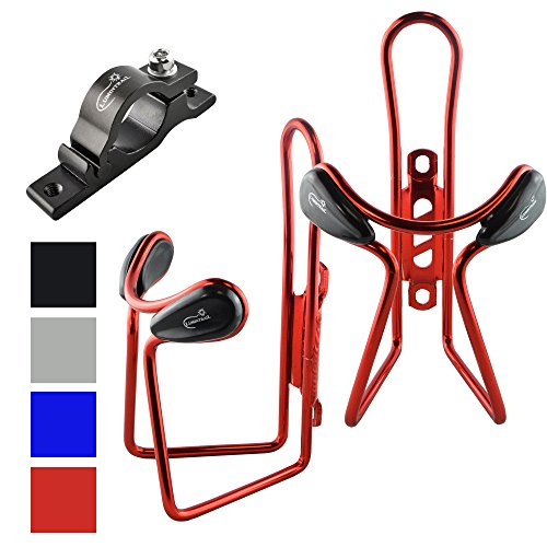 2 Pack Lumintrail Lightweight Aluminum Alloy Bicycle Bike Water Bottle Cage Holder with Handlebar Mount Bracket (Red)