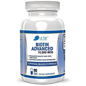 Biotin Vegan Veggie Capsule Supplement - High-Potency Biotin 10,000mcg Capsule - Supports Hair Growth, Complexion, Acne, Strong Nails, Toenails, and Eyelashes - 90-Day Pills Supply, Made In USA