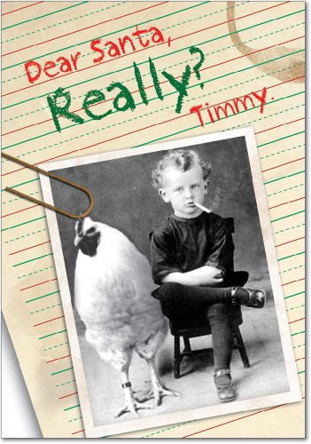 12 'Really?' Boxed Christmas Cards with Envelopes 4.63 x 6.75 inch, Old-Fashioned Photograph of Little Boy Smoking Cigarette With Chicken Holiday Cards, Unique Christmas Stationery B5941