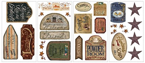 Lunarland COUNTRY SIGNS 26 Wall Stickers Room Decor Western Decals Laundry Kitchen Stars