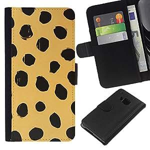 HTC One M9 Modelo colorido cuero carpeta tirón caso cubierta piel Holster Funda protección - Beige Black Dots Animal Nature Fur