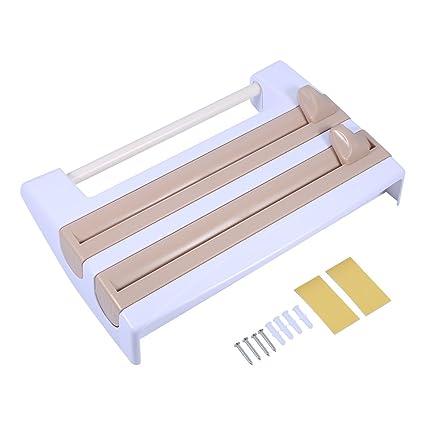 Pared Portarrollos dispensador de rollos pantalla de 2 compartimento de film Soporte para rollos de cocina