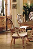 Set of 2 Dining Arm Chairs Medium Oak Finish Review