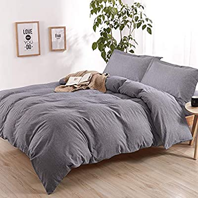 """EMME Linen Cotton Duvet Cover Set 3 Pieces Hypoallergenic Breathable Bedding Insert Comforter Cover with 2 Pillow Shams Solid Color with Button Closure (King, Dark Grey) - MATERIAL FEATURES: EMME Linen Cotton Duvet Cover Set consists of 77% Cotton and 23% Linen. Can provide with ultra-soft breathable, anti-static and no pilling. Breathable cotton allows air to flow through the bedding textile, with the natural linen material, it provides you the sense of being in nature UNIQUE DESIGN PHILOSOPHY:The Duvet Cover is the prefect option for your comforter or blanket, it can fully protect your bedding instead of a top sheet, with EMME's duvet cover sets, it can ensure that your comforter won't slide around inside with the corner strap design. EMME's duvet cover also secure with buttons and is easy to remove and wash SIZE AND MEASUREMENT: Duvet cover set includes Full/Queen: Duvet Cover (90""""x90"""") with 2 Pillow Shams (20""""x26""""); King: Duvet Cover (104""""x90"""") with 2 Pillow Shams (20""""x36"""") - comforter-sets, bedroom-sheets-comforters, bedroom - 51r0%2BUk7PDL. SS400  -"""