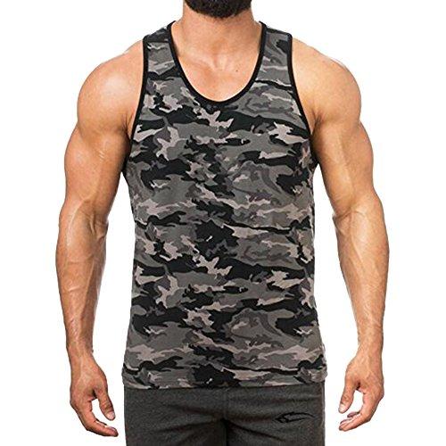 Camouflage Sport Musculation Fit Sous Gris T Slim Imprimé Gilet Sudation Rera Homme Maillot Manches Sans Corps shirt De Rond vêtements Débardeur Col Foncé Elastique qF7wqX0x