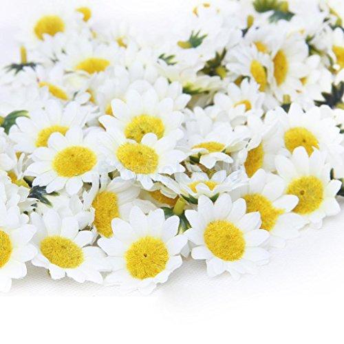 White 100x Gerbera Daisy Head Artificial Silk Flower Wedding 1.5