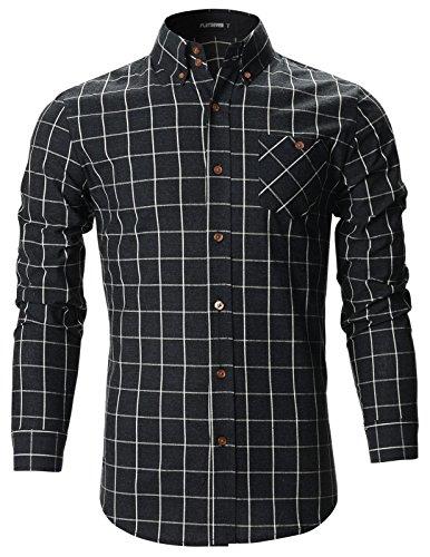 Cotton Checker Dress - FLATSEVEN Mens Slim Fit Plaid Checker Casual Cotton Shirts (SH175) Black, XXL