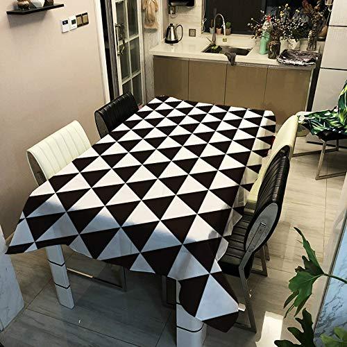 Manteles Mesa Impresion 3D Mantel, Morbuy Geometria Enrejado Rectangular Impermeable Antimanchas Lavable Poliester Manteles para Cocina Salon Comedor Decoracion del Hogar (Blanco Negro 6,140x180cm)