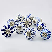 Set of 10 Assorted Vintage Blue and White Hand Painted Ceramic Pumpkin Knobs Cabinet Drawer Handles Pulls