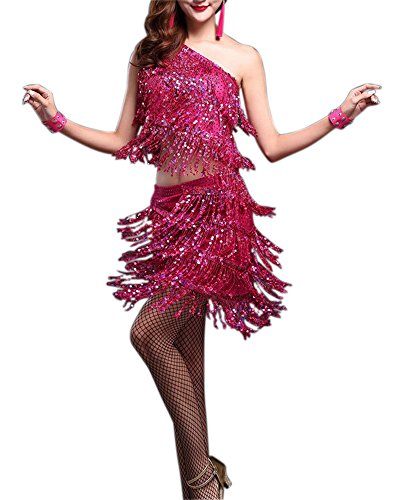 Unique Latin Salsa Ballroom Jazz Dance Show Costumes Dress for World Competition, Pink, 0 / 2