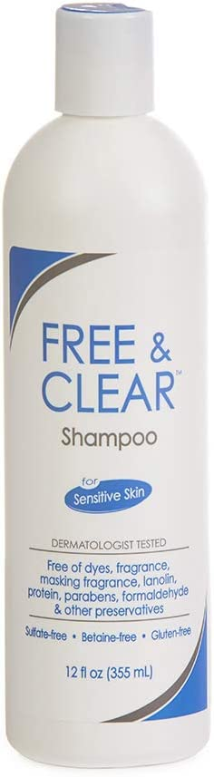Free & Clear Hair Shampoo | Fragrance, Gluten and Sulfate Free | For Sensitive Skin | 12 Ounce: Health & Personal Care