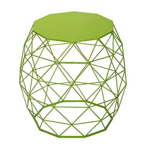 Adeco Home Garden Accents Wire Round Iron Metal Stool Side End Table Plant Stand Chair Hatched Diamond Pattern, Khaki Green
