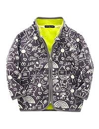 Happy Cherry Kids Winter Fleece Jacket Warm Long Sleeve Zip Up Cartoon Outerwear