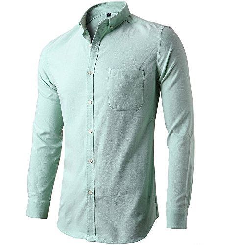 [Mens Oxford Dress Shirts Casual Slim Fit Button Down Long Sleeve Shirts Green] (Slender Man Skin Suit)