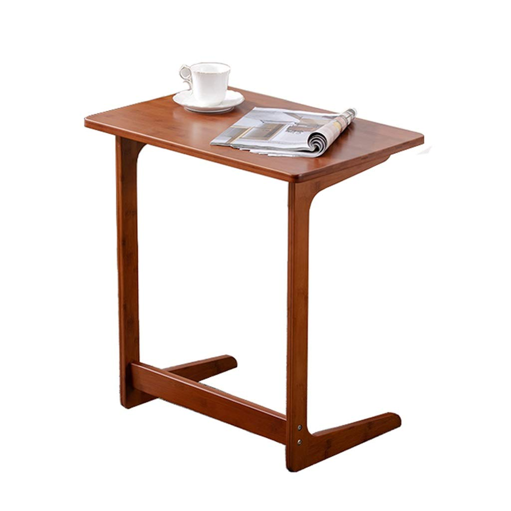 Side Table | Console Laptop Desk with Coffee Tray | C Shaped End Sofa Table, Curve Wood Craft,Anti-Slip Bottom (604065, Wood) (Color : Dark) by LYR