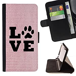 For Samsung Galaxy Note 4 IV Case , Vivir de la pata del texto Amor perro de mascota canina Rosa- la tarjeta de Crédito Slots PU Funda de cuero Monedero caso cubierta de piel