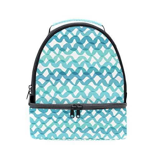 Shoulder Double Lunch Bag Art Crinkle Seamless Cooler Adjustable Strap for Picnic