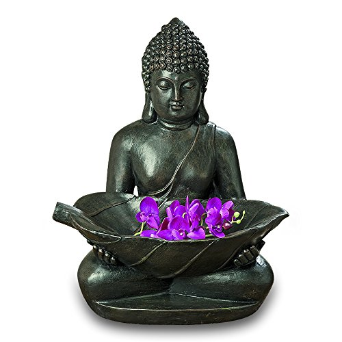 Whole House Worlds The Large Peaceful Zen Buddha With Leaf, Dark Stone Finish, Finely Detailed Garden Sculpture, Artisan Crafted, Durable Cast Magnesia, 26 ¾ Inches Tall, By (Buddha Statue Seated)
