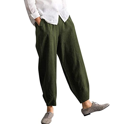 20a9aa63feac Womens Baggy Casual Trousers Cotton Linen Loose Harlan Pants Elastic Waist  Trousers Outdoor Comfy with Pockets