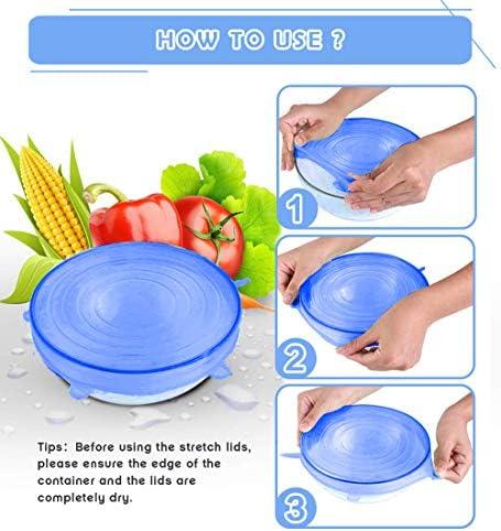 6/pcs universel en silicone stretch Bouteille Bol Pot Coque de tailles diff/érentes