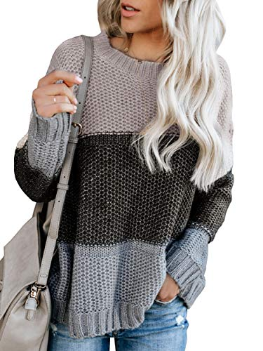 Ybenlow Womens Color Block Oversized Crewneck Sweaters Striped Long Sleeve Loose Chunky Knitted Pullover Jumper Tops Grey ()
