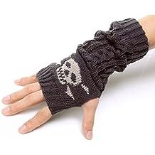 Flammi Unisex Cable Knit Fingerless Arm Warmers Skull Jacquard Thumb Hole Gloves Mittens
