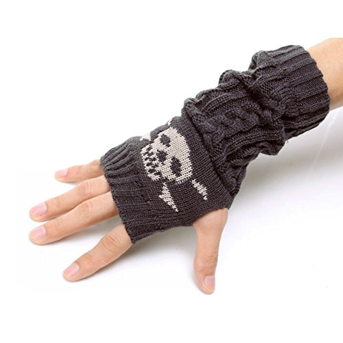 Flammi Unisex Cable Knit Fingerless Gloves Mittens Skull Jacquard Thumb Hole Arm Warmers (Dark Grey)