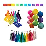 Luna Bazaar Rainbow Party Decoration Kit - Includes Garland, Paper Lanterns, Papel Picado Mexican Banner and Mexican Flags.
