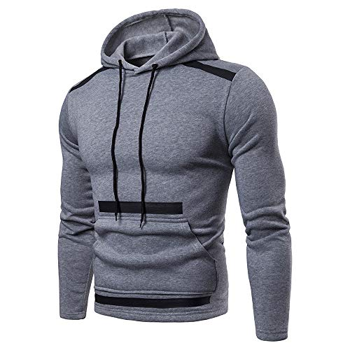 Sunhusing Mens Autumn Winter Stitching Long Sleeve Pocket Hooded Sweatshirt Fleece Outwear Tops ()