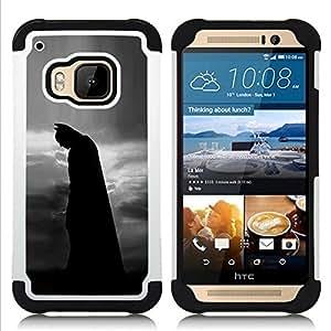 """HTC One M9 /M9s / One Hima - 3 en 1 impreso colorido de Altas Prestaciones PC Funda chaqueta Negro cubierta gel silicona suave (Hombre Noche Negro Película Personaje"""")"""