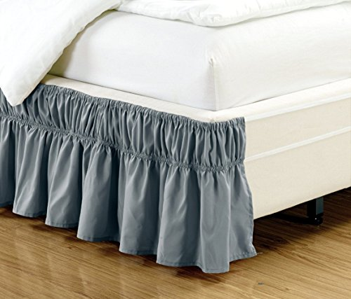 "Wrap Around Style GREY Ruffled Solid Bed Skirt Fits both QUEEN and KING size bedding 100% soft microfiber fabric allows for Natural Draping, 14"" Fall Covers Legs and Bed Frame"