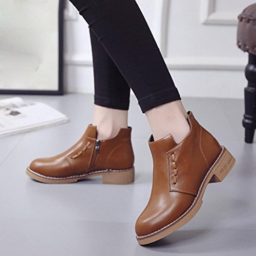 British Wind Martin Boots,Byste Women Dress Shoes Lady Round Head Short Boots Brown