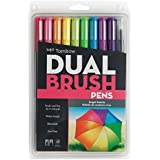 Tombow 56185 Dual Brush Pen Art Markers, Bright, 10-Pack. Blendable, Brush and Fine Tip Markers