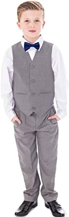 Vivaki 4pc Navy Suit with Burgundy Bow tie