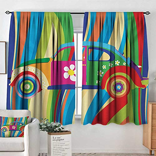 Elliot Dorothy White Curtains Modern,Retro Vector Hippie Style Classic Car with Daisy and Bold Stripes Artwork Print,Multicolor,Decorative Curtains for Living Room and Bedroom 63