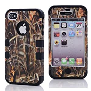 SHHR-HX4G40N Straw Grass Mossy Camo Design Hybrid Cover Case for Apple iPhone4 4s 4G -Black Color