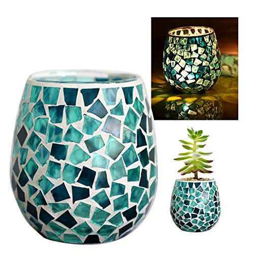 Hand Painted Design Decorative Glass Candle Holder 3 Inch Style Mediterranean Ocean Blue Mosaic Glass Candles Holder for Relaxing, Mood at Home, Restaurant and Cafe Decoration