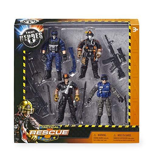 (True Heroes Rescue Heroes Tactical Unit Firemen Policemen Figures)