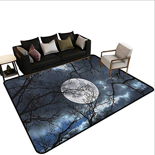 Swimming Pool Anti-Skid Carpet Forest,Full Moon at Night in Forest Winter Time Mystical Dramatic Days Lunar Photo, Blue Black Yellow