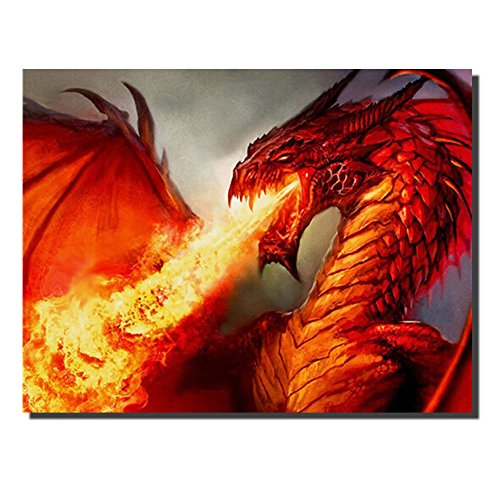 DIY Diamond Painting by Number Kits Crystal Cross Stitch Arts and Crafts Decor for Home Wall (fire Dragon)
