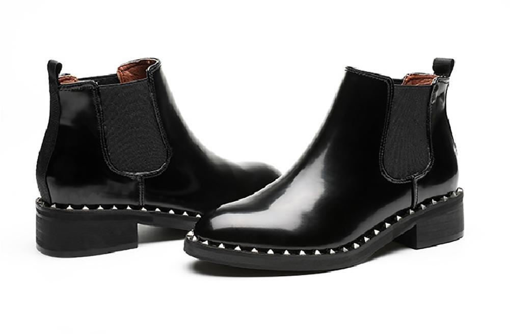xie Chaussures pour Femmes Bottes féminines Automne Ronde Hiver Microfibre Tête Ronde Automne Rough avec Tube Bas Martin Bottes Bas-Talon Résistant à l'usure Garde au Chaud Antidérapant Bottes NuesB07J54R6RBParent 654a3f