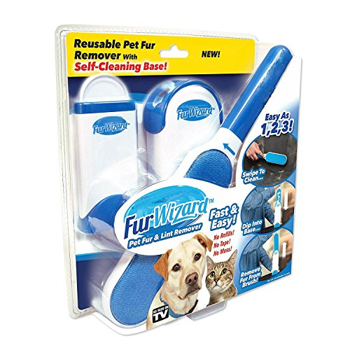 Pet Seen Tv As On Brush (WUNSHON Pet Hair Remover with Self-Cleaning Base-Double Sided, Self-Cleaning & Reusable,Efficient Pet Hair Remover from Clothing,Furniture,Home (Blue, 1 pack))
