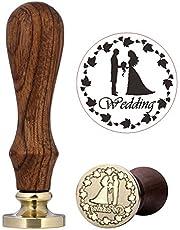 Mogoko - Sello de lacre de latón de estilo clásico, distintos diseños disponibles, color Wedding