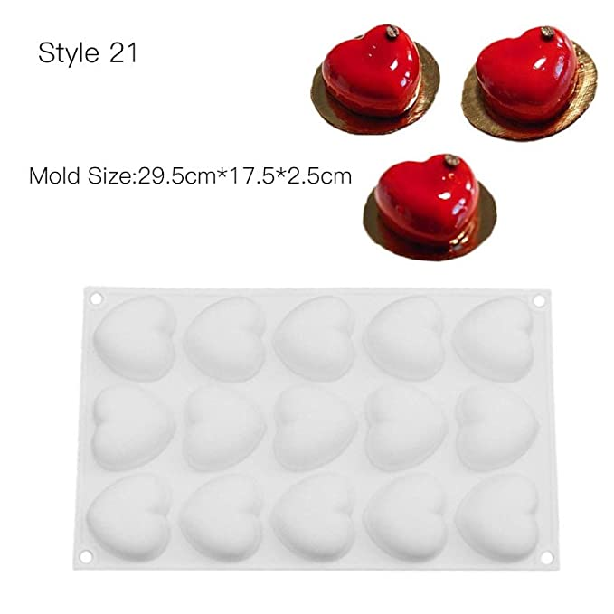 Amazon.com: HOMZE cake mold Cake Decorating Mold 3D Silicone Molds Baking Tools For Heart Round Cakes Chocolate Brownie Mousse Make Dessert Pan Style 15: ...