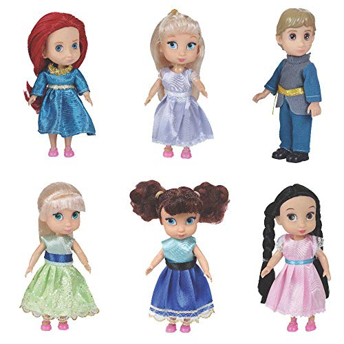 Liberty Imports Fashion Princess Toddler Mini Dolls 6 inches Collection Girls Gift Set (Pack of 6) (Disney Frozen 6 Inch Toddler Doll Elsa)