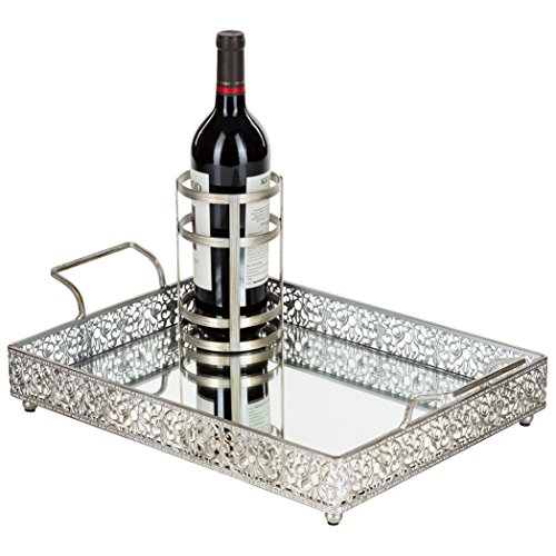 Amalfi Décor Victoria Vintage Silver Mirror Serving Tray, Rectangular Metal Vanity Food Decorative Display Platter with Wine Bottle Holder
