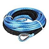 "Astra Depot 1/4"" 50ft Synthetic Rope Extension 7000+ LBs with Sheath for atvs Winches ATV UTV SUV Truck Boat Ramsey Synthetic Winch Rope - Blue"
