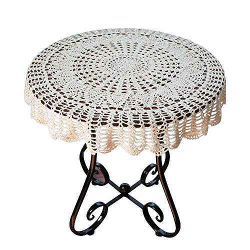 USTIDE Handmade Crochet Cotton Tablecloth Round Beige Crochet Tablecloths for Wedding 31 Inches